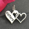 Sterling Silver Sister Charm - Two Linked Hearts - Poppies Beads n' More