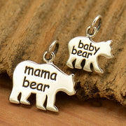 Sterling Silver Mama Bear and Baby Bear - Etched Set or Stamping Blank Set, - Poppies Beads n' More
