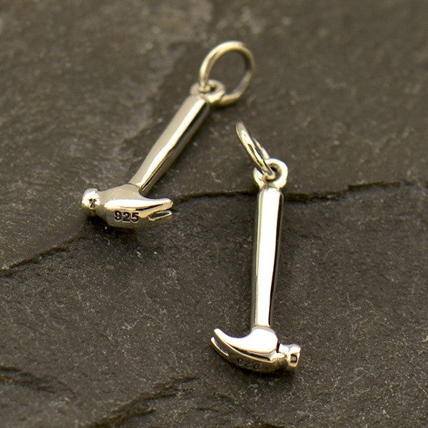 Sterling Silver Hammer Charm - Tiny Tool Charm - Poppies Beads n' More