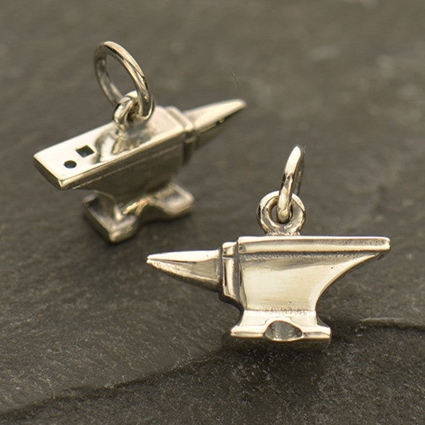 Sterling Silver Anvil Charm - Tiny Tool Charm - Poppies Beads n' More