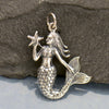 Silver Mermaid Pendant Holding a Starfish - Mermaid Charm - Poppies Beads n' More
