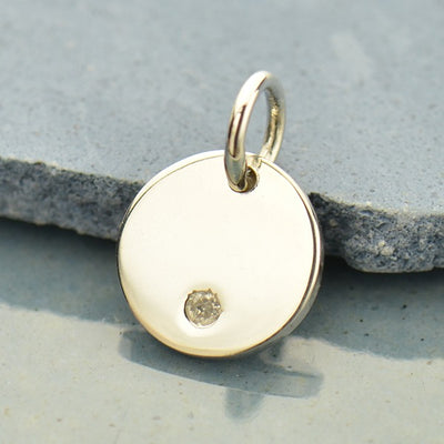 Small Round Charm with Genuine Diamond