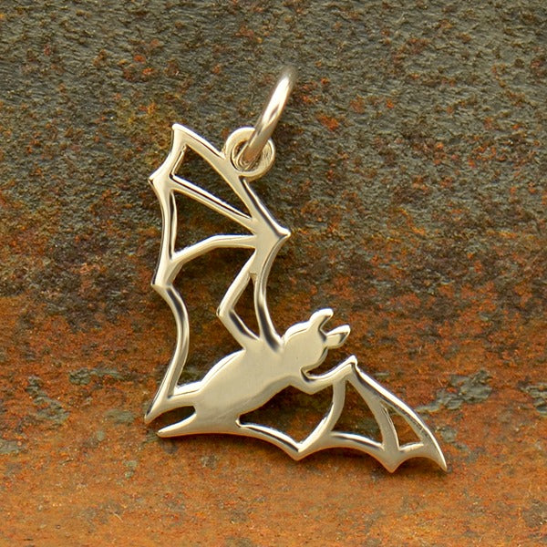 Sterling Silver Bat Charm - Openwork Halloween Charm - Poppies Beads n' More