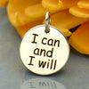 Sterling Silver Message Pendant - I Can and I Will - Poppies Beads n' More