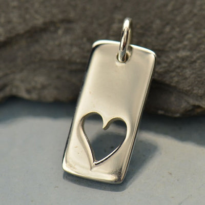 Sterling Silver Tag with Heart Cutout - Poppies Beads n' More