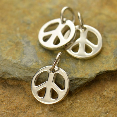 Small Sterling Silver Peace Charm - Poppies Beads n' More