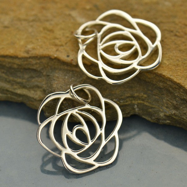 Sterling Silver Art Deco Rose Charm - Poppies Beads n' More