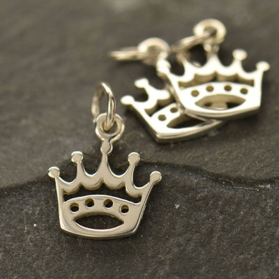 Sterling Silver Crown Charm - Poppies Beads n' More