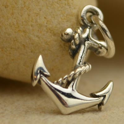 Sterling Silver Small Anchor Charm - Poppies Beads n' More