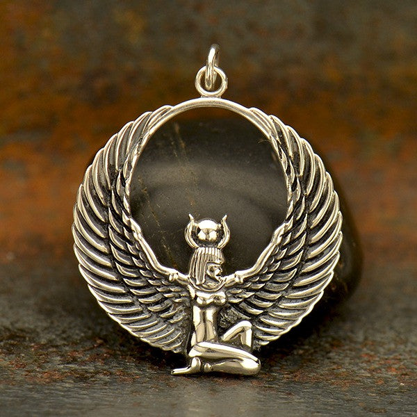 Sterling Silver Egyptian Winged Goddess Pendant - Isis Charm - Poppies Beads n' More