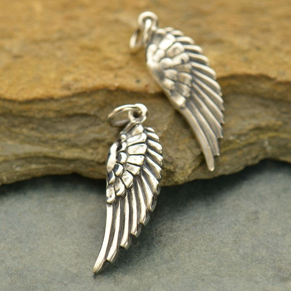 Medium Sterling Silver Wing Charm - Poppies Beads n' More