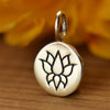 Sterling Silver Etched Lotus Charm - Poppies Beads n' More
