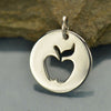 Sterling Silver Disk with Apple Cutout - Poppies Beads n' More