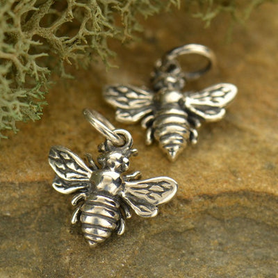 Sterling Silver Honeybee Charm - Poppies Beads n' More