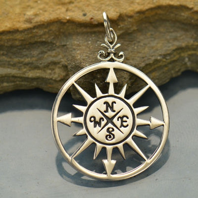 Sterling Silver Compass Rose Pendant - Poppies Beads n' More