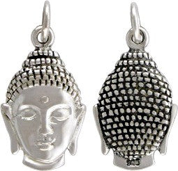 Sterling Silver Buddha Head Charm - Poppies Beads n' More