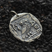 Sterling Silver Ancient Coin Charm with Athena's Owl - Poppies Beads n' More