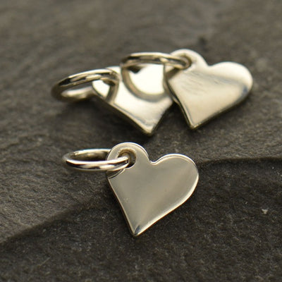 Tiny Sterling Silver Heart Dangle - Poppies Beads n' More