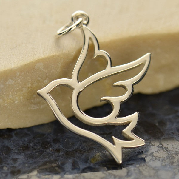 Sterling Silver Peace Dove Bird Charm - Poppies Beads n' More