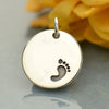 Sterling Silver Disk with Footprint - Poppies Beads n' More