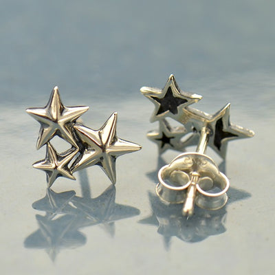Sterling Silver Star Cluster Post Earrings - Poppies Beads n' More