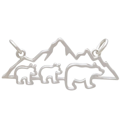 Sterling Silver Mama and 2 Baby Bear Pendant Festoon
