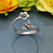 Sterling Silver Bee and Cherry Blossom Adjustable Ring - Poppies Beads n' More