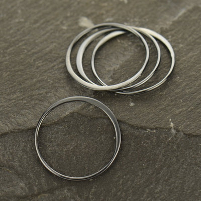 Large Half Hammered Circle Silver Link - Poppies Beads n' More