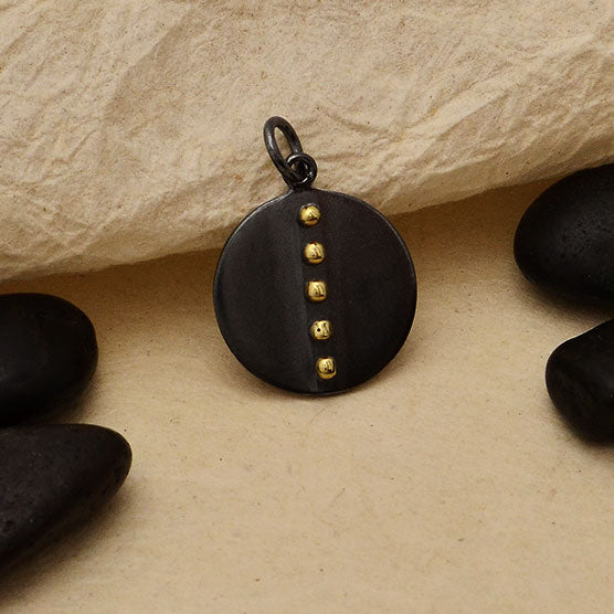 Black Finish Disk Charm with Bronze Granulation