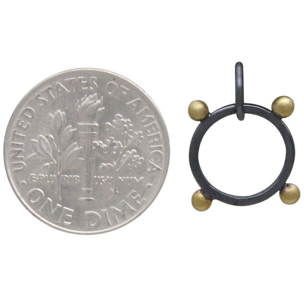Black Finish Circle Charm with Bronze Granulation