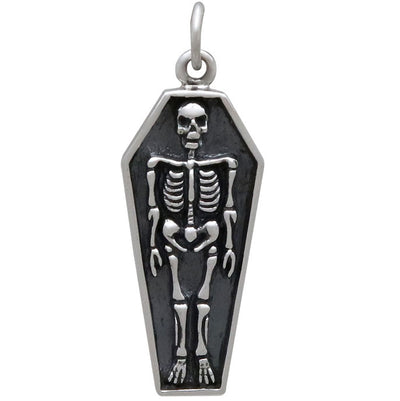 Sterling Silver Skeleton Charm in Coffin