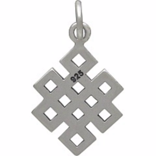 Sterling Silver Endless Buddhist Knot Charm - Poppies Beads n' More
