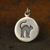 Sterling Silver Etched Halloween Cat Charm - Poppies Beads n' More