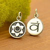 Sterling Silver Etched Sacral Chakra Charm - Poppies Beads n' More