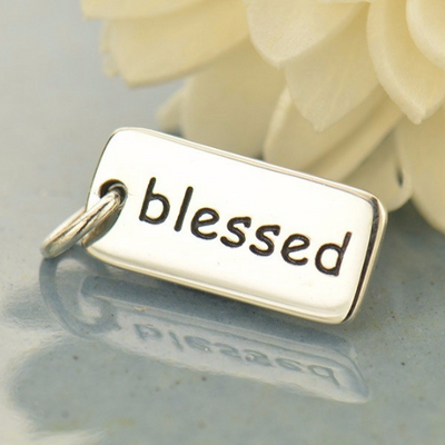 Blessed Sterling Silver Word Tag - Poppies Beads n' More