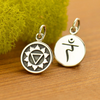Sterling Silver Etched Solar Plexus Chakra Charm - Poppies Beads n' More
