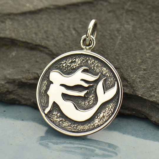 Sterling Silver Etched Mermaid Charm - Poppies Beads n' More