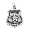 "Sterling Silver Police Badge Charm with ""Police"" ""Protect My Hero"" Message - Poppies Beads n' More"