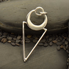 Silver Geometric Pendant - Triangle with Crescent Circle - Poppies Beads n' More