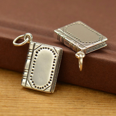 Sterling Silver Realistic Book Charm - Poppies Beads n' More