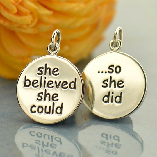 Silver Message Pendant - She Believed She Could So She Did - Poppies Beads n' More