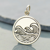 Sterling Silver Etched Ocean Waves Pendant - Poppies Beads n' More