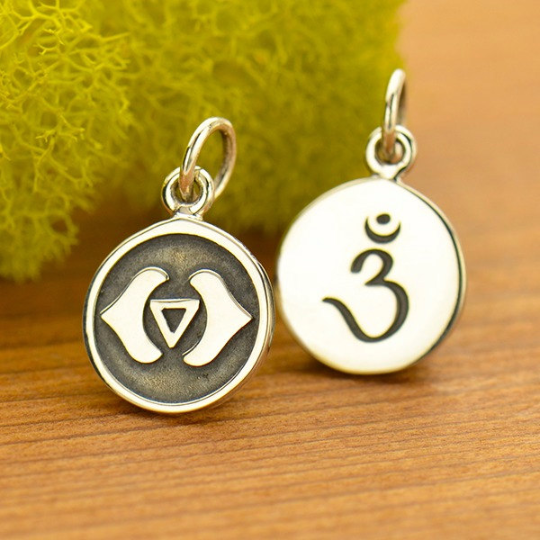 Sterling Silver Etched Third Eye Chakra Charm - Poppies Beads n' More