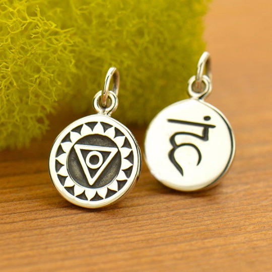 Sterling Silver Etched Throat Chakra Charm - Poppies Beads n' More