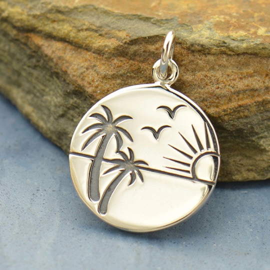 Sterling Silver Etched Sunset in Paradise Charm - Poppies Beads n' More