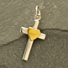 Sterling Silver Cross Charm with Bronze Heart - Poppies Beads n' More