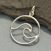 Sterling Silver Wave Pendant - Poppies Beads n' More