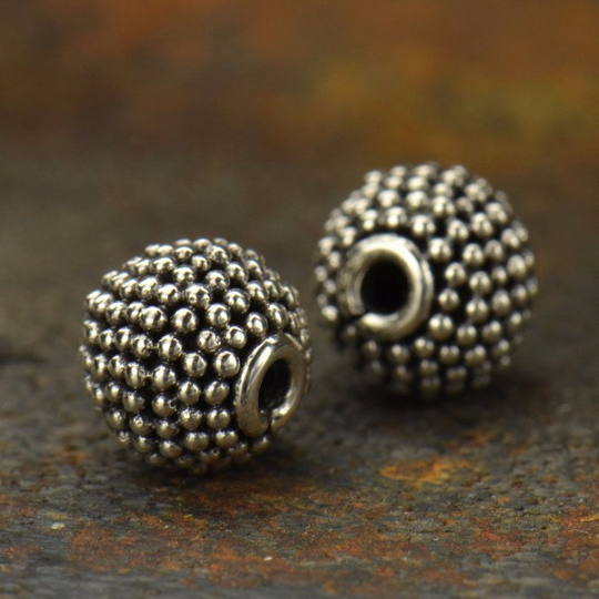 Small Round Sterling Silver Bead with Carpet Granulation - Poppies Beads n' More