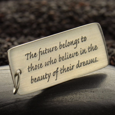 Sterling Silver Rectangle Quote Charm - The Future Belongs - Poppies Beads n' More