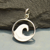 Sterling Silver Flat Plate Wave Charm - Poppies Beads n' More